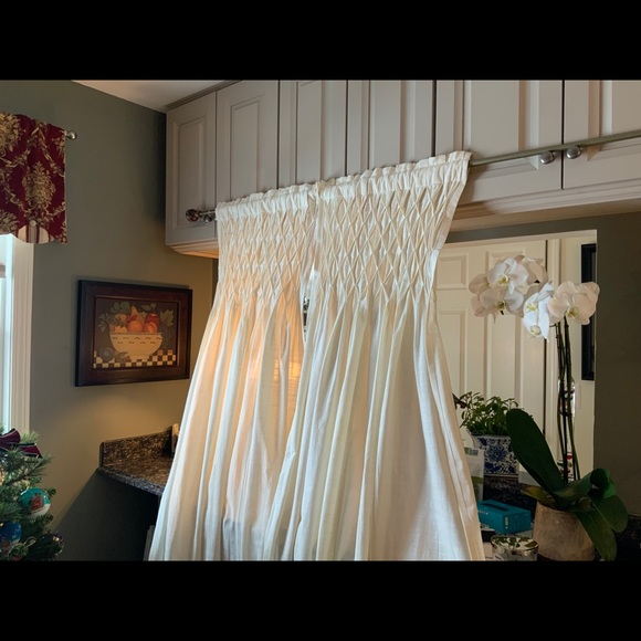 Ivory Cotton Smocked Curtains by Villa 4 Panels